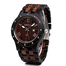 Bewell Mens Two-tone Wooden Quartz Wristwatch with Calendar Nightlight Sandalwood Watches Charming Style