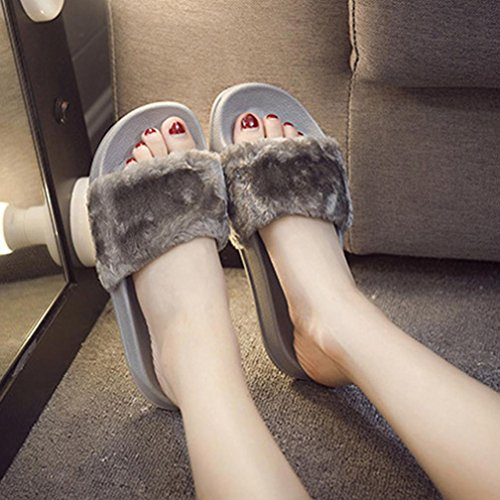 Baomabao Mujeres Slip On Sliders Esponjoso Faux Fake Fur Flat Slipper Chancleta Sandal Gris