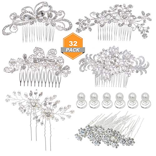 inSowni 4pcs Wedding Hair Side Combs+28pcs U-shaped & Twist Bridal Hair Pins Rhinestone Pearls for Women Girls Bridesmaids from inSowni