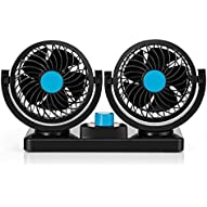 12V DC Electric Car Fans Cooling Air Circulator Fan--360ø Rotatable Dual Heads Blade 2 Speed with 6FT Cord, Efficiently Blow Away Hot Air Smoke Smell Bad Odors for Sedan SUV RV Boat Auto Vehiclesles