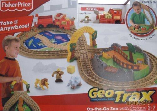 GeoTrax ON THE GO ZOO TRAIN Set w FOLD & GO STORAGE,