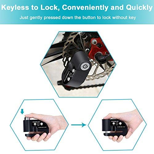 YOHOOLYO Disc Lock Alarm Motorcycle Padlock W 110Db Sound For Motorcycles Bicycl
