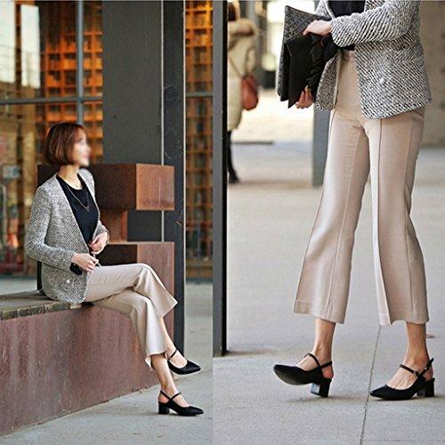 Zcjb Foråret Sæson Damer Sko Pegede Sko Buzzword Bundet Sandaler Kvindelige Tykke Hæle Høje Hæle (farve: Sort, Størrelse: 38) Sort