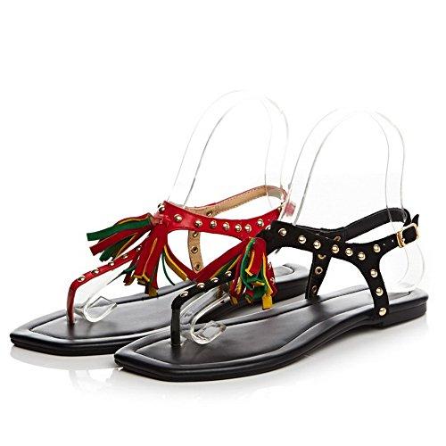 No Heel Sandals Black Solid Toe Womens Split Cow Leather AmoonyFashion Buckle aCxpOgZq