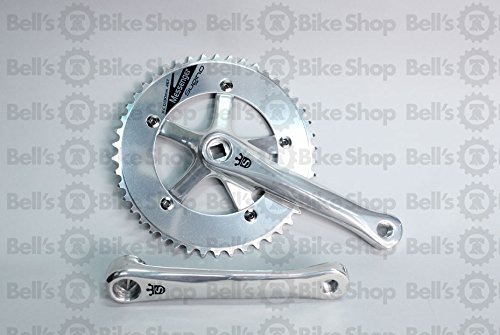 (Sugino Messenger Cranks Polished Silver 165mm 46T Track Fixed Single Speed)