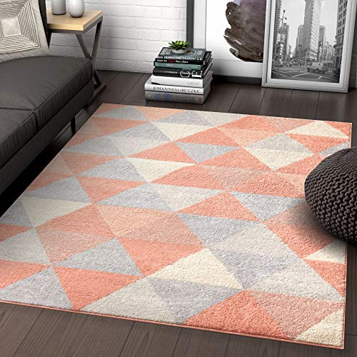 Well Woven Isometry Pink Modern Geometric Triangle Pattern 5x7 (5' x 7') Area Rug Soft Shed Free Easy to Clean Stain - Coral Triangle Pink
