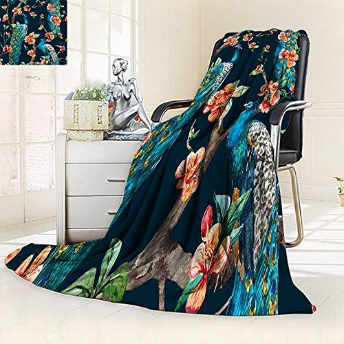 YOYI-HOME Silky Soft Plush Warm Duplex Printed Blanket,Watercolor Seamless with Peacock on a Tree Cherry Flowering Trees Tree with Flowers Anti-Static,2 Ply Thick Blanket/31.5