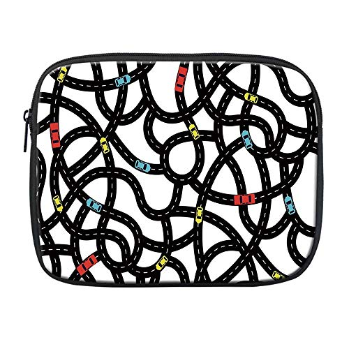 Cars Compatible with Nice iPad Bag,Intertwining Roads with Cars on Them Complicated Design with Urban Life Theme for Office,One Size