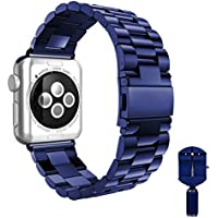 Apple Watch Band, SKYii 38mm Stainless Steel iWatch Band Replacement Metal Wristband for Apple iWatch Series 1 Series 2 Series 3 Bracelet Strap with Buckle Clasp Smart Watch Band Navy Blue 38mm