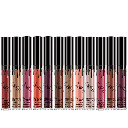 Ownest 12 Colors Matte Liquid Lipstick Set,Waterproof Long Lasting Lipstick,Lip Gloss set - Lip Tint Display