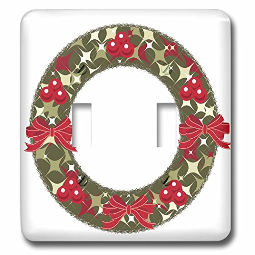 3dRose Anne Marie Baugh - Christmas - Red and Green Christmas Holly Berry Wreath and Bows Illustration - Light Switch Covers - double toggle switch (lsp_266708_2) - Christmas Wreath Holly Bow