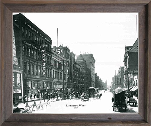 (Impact Posters Gallery Framed Wall Picture Decor 1909 Riverside Vintage West Buggy Horse Black And White Barnwood Art Print (19x23))