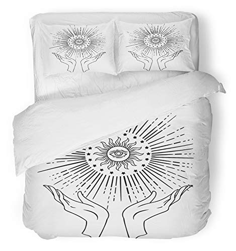 Emvency 3 Piece Duvet Cover Set Brushed Microfiber Fabric Breathable Beautiful Hand Drawing is Holding Eye of Providence Tattoo Mystic Magic Symbol Bedding Set with 2 Pillow Covers Full/Queen Size