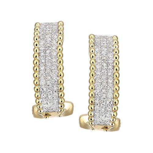 Revoni-Boucles d'Oreilles Créoles or jaune 18carats Diamant