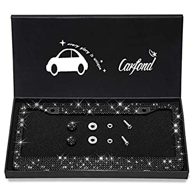 Carfond 7 Row Handcrafted 1000Pcs Finest 14 Facets SS20 Premium Crystal Diamond Stainless Steel License Plate Frame Bonus Matching Screws Caps (Black crystal): Automotive