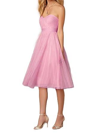 60dbc7b7675 OYISHA Women s Tulle Sweetheart Short Bridesmaid Blush Cocktail Dresses  Dark Pink 2