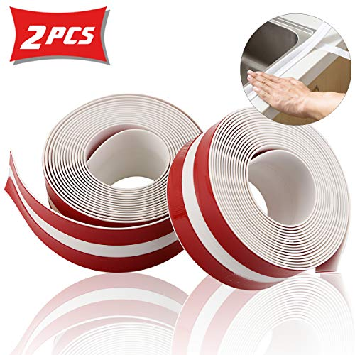 Twdrer 2 Rolls PE Caulk Strip Self-Adhesive Waterproof Sealing Strip Tape Decorative Sealant Trim,Bathroom Shower Toilet…