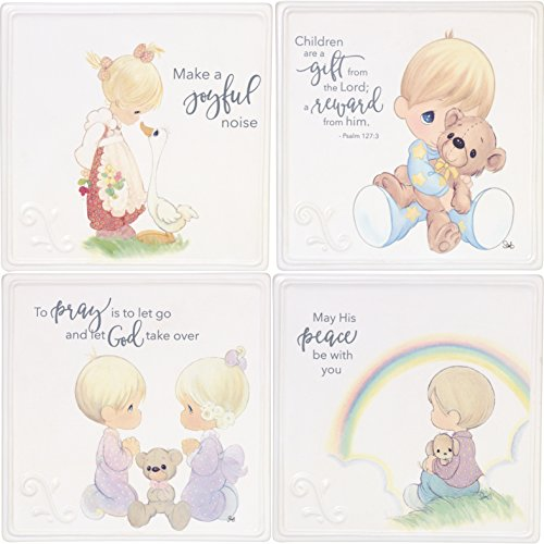 (Precious Moments Girl & Boy Praying Baby Plaque (Set of 4), One Size, Multicolor)