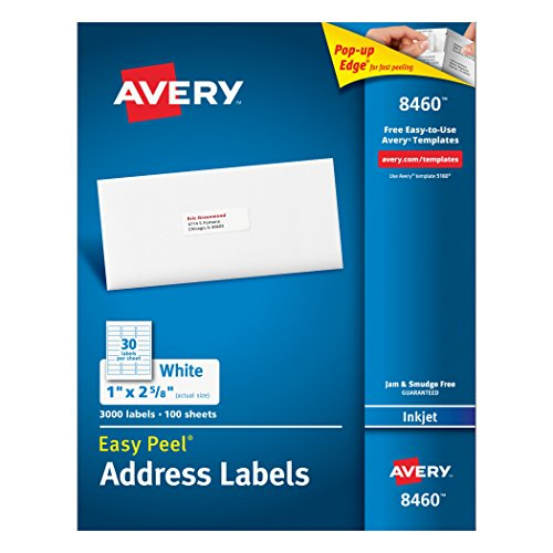 Avery Easy Peel White Mailing Labels for Ink Jet Printers, 1 x 2.62 Inch, Box of 3000 (8460)