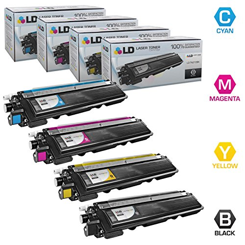 LD Compatible Toner Cartridge Replacement for Brother TN210 (Black, Cyan, Magenta, Yellow, 4-Pack)