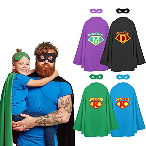 STOIE'S Family Superhero Capes and Masks, 8-Piece Set - Dress-Up Group Costume Kit for Parents and Kids - Party Supplies - Durable, Materials