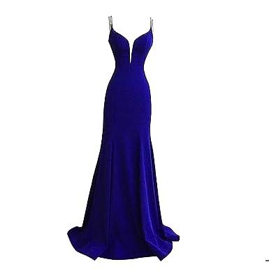 Vestido fiesta azul y negro