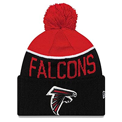 New Era Atlanta Falcons Sideline Players Knit Pom Beanie Hat Cap - Black & Red