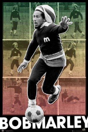 Bob Marley Football Shots Soccer Reggae Music Sports Poster