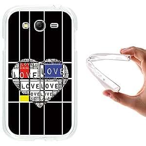 Funda Samsung Galaxy Grand Neo, WoowCase [ Samsung Galaxy Grand Neo ] Funda Silicona Gel Flexible Mondrian Style Corazón de Amor, Carcasa Case TPU Silicona - Transparente