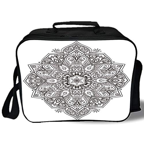 Insulated Lunch Bag,Mandala,Asian Psychedelic Circular Element Lotus Ethnic Medallion Yoga Eastern Culture,Black White,for Work/School/Picnic, Grey
