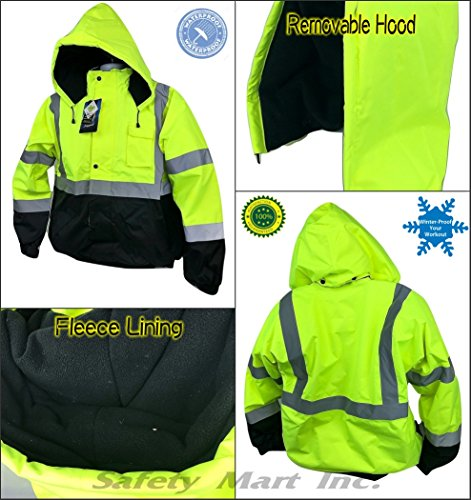 (High visible Safety Bomber Jacket Class 3 winter waterproof insulate - lime (Medium))