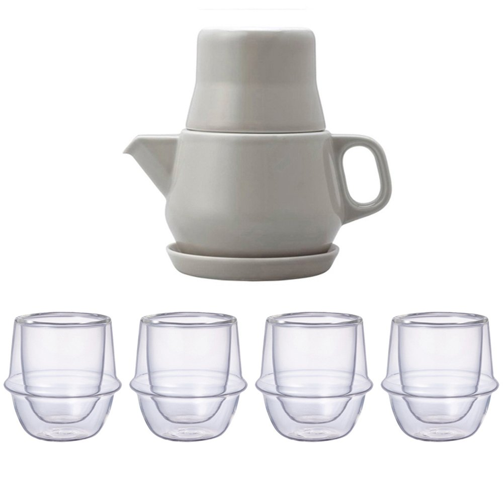 KINTO Gray Tea For One and Four KRONOS Double Wall Glass Espresso Cup, Set of 5 by KitcheNova (Image #1)