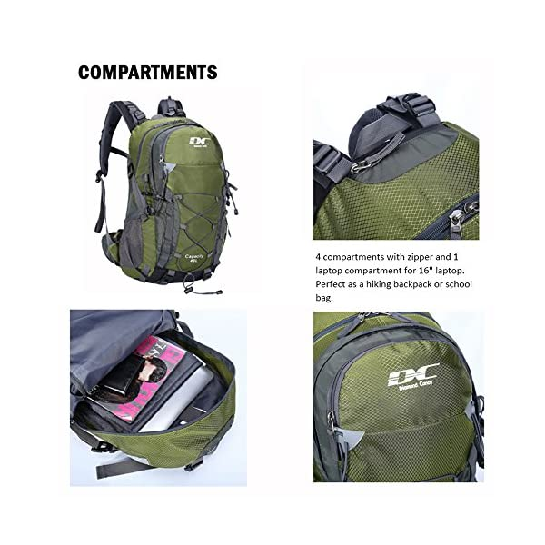 8f1cbe593778 Diamond Candy Hiking Backpack 40L Waterproof Outdoor Lightweight Travel  Backpacks for Men and Women with Rain Cover