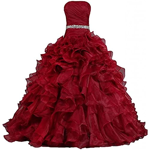 ANTS Womens Pretty Ball Gown Quinceanera Dress Ruffle Prom Dresses Size 16 US Fire Brick