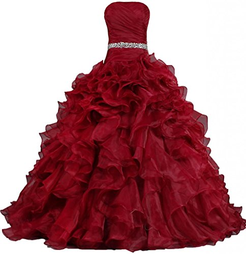 ANTS Women's Pretty Ball Gown Quinceanera Dress Ruffle Prom Dresses Size 16 US Fire Brick