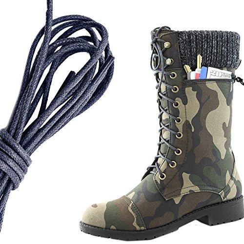 Dailyshoes Womens Combat Stijl Lace Up Enkellaarsje Ronde Teen Militaire Knit Creditcard Mes Geld Portemonnee Pocket Laarzen, Marine Camouflage Cv