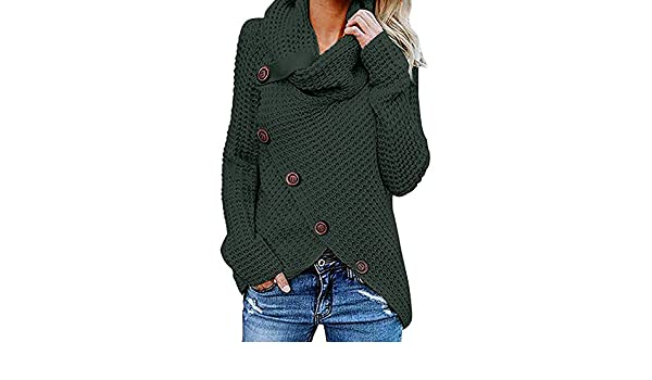 Yvelands Botón de la Camisa de Las Mujeres suéter de Manga Larga Jersey Tops Blusa(Green, M): Amazon.es: Ropa y accesorios