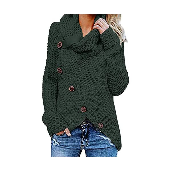 Women s Sweaters Casual Cowl Neck Chunky Cable Knit Wrap Asymmetrical  Pullover Coat Sweatshirts 92f275c96
