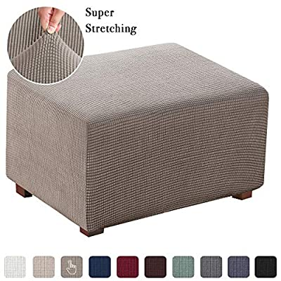 Stretch Ottoman Slipcover Folding Storage Stool Furniture Protector Soft Rectangle Slipcover with Elastic Bottom
