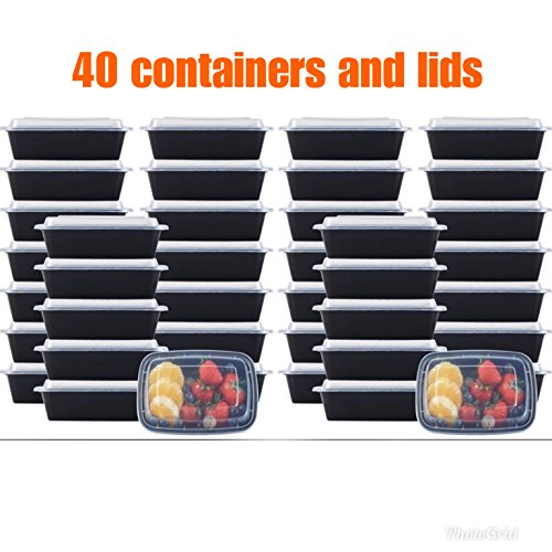 NutriBox [40 Value Pack] single one compartment 20 OZ Meal Prep Plastic Food Storage Containers - BPA Free Reusable Lunch Bento Box - Microwave, Dishwasher and Freezer Safe - For School Work or Trips