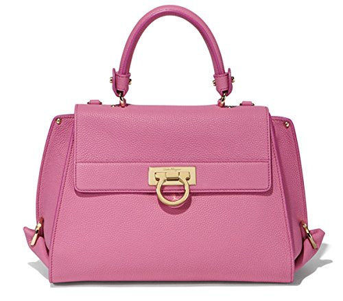 Salvatore Ferragamo Sofia Medium Pebbled Satchel In Anemon $2250 (Authentic)