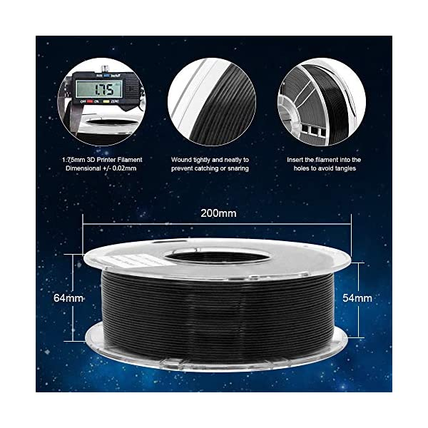 Pla+ black 1.75mm 3d printer filament 1kg spool (2.2lbs),190c – 220c, good glossiness, with clear spool vacuumed sealed