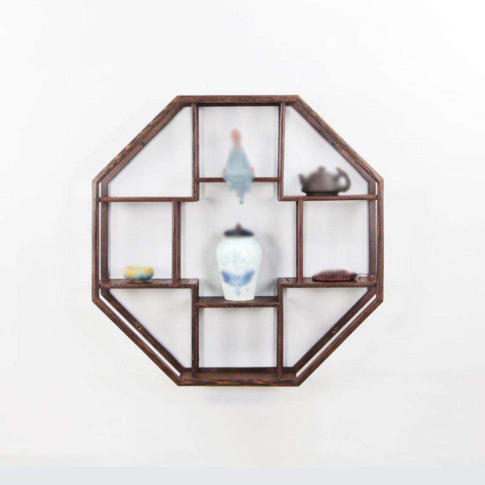 Octagonal Wall Shelf / Wall Shelf / Tea Shelf / Solid Wood Chinese Wall-mounted / Living Room Kitchen Wall Storage Rack / Antique Rack / Counter Display Rack / Tea Room Decoration Rack / (60 60cm)
