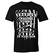 Military Veteran Allergic to Stupidity Sarcasm Men's T Shirt