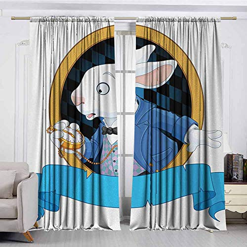 XXANS Doorway Curtain,Alice in Wonderland,Great for Living Rooms & Bedrooms,W96x84L Inches,Blue White Earth Yellow -