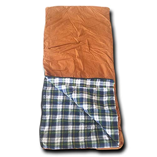 (Wolftraders 20-Degree Fahrenheit Cotton Canvas Classic Envelope Style Square Sleeping Bag with Flannel Lining)