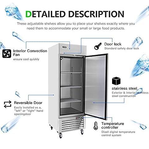 23 Cu.Ft Single Door Commercial Reach-in Refrigerator – KITMA Bottom Mount Stainless Steel Upright Fridge – 1 Self-Closing Door, 3 Adjustable Shelves