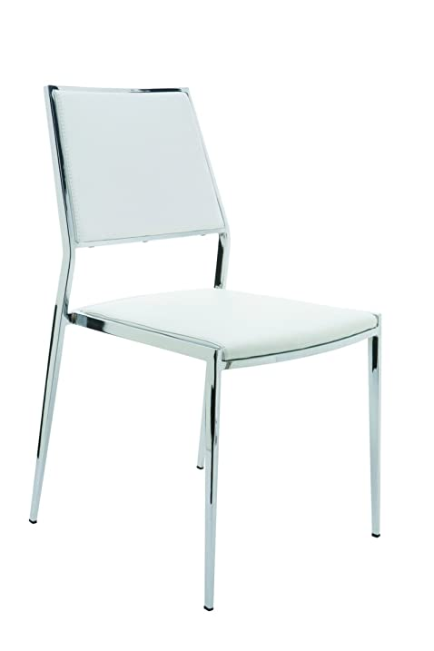 Aaron Stackable White Dining Chair By Nuevo   HGBO175