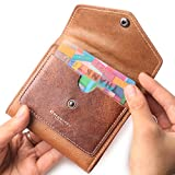 Borgasets Women's RFID Blocking Small Compact Bifold Leather Pocket Wallet Ladies Mini Purse (Oil wax Brown)