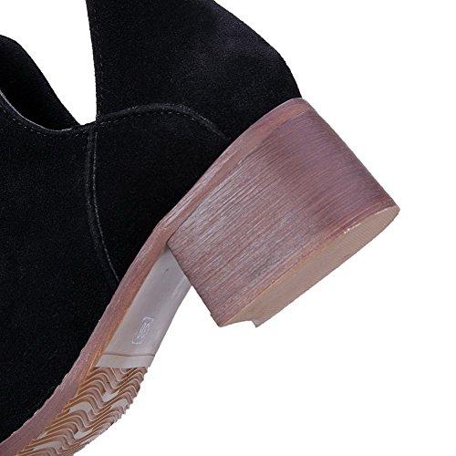 AllhqFashion Mujeres Puntera Redonda Tacón Medio Esmerilado Caña Baja Sólido Botas Negro